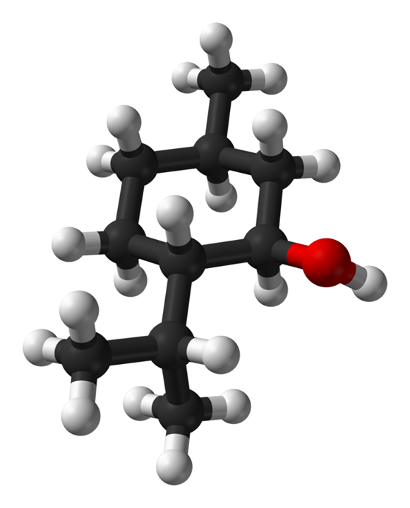 3D structure of L-Menthol - Carbons in black, Hydrogens in white and Oxygen in Red